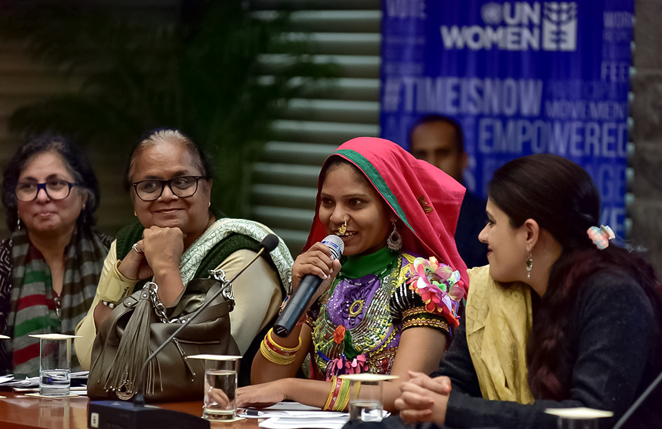 Savita, an Elected Women's Representative from Gujarat, shares her views at the civil society consultation in New Delhi. Photo: UN Women/Sarabjeet Dhillon