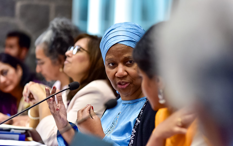 UN Women Executive Director, Phumzile Mlambo-Ngcuka speaking at the Consultation on 'Promoting Gender Equality Through the Beijing Platform for Action (BPfA) and CSW63' in New Delhi. Photo: UN Women/Sarabjeet Dhillon