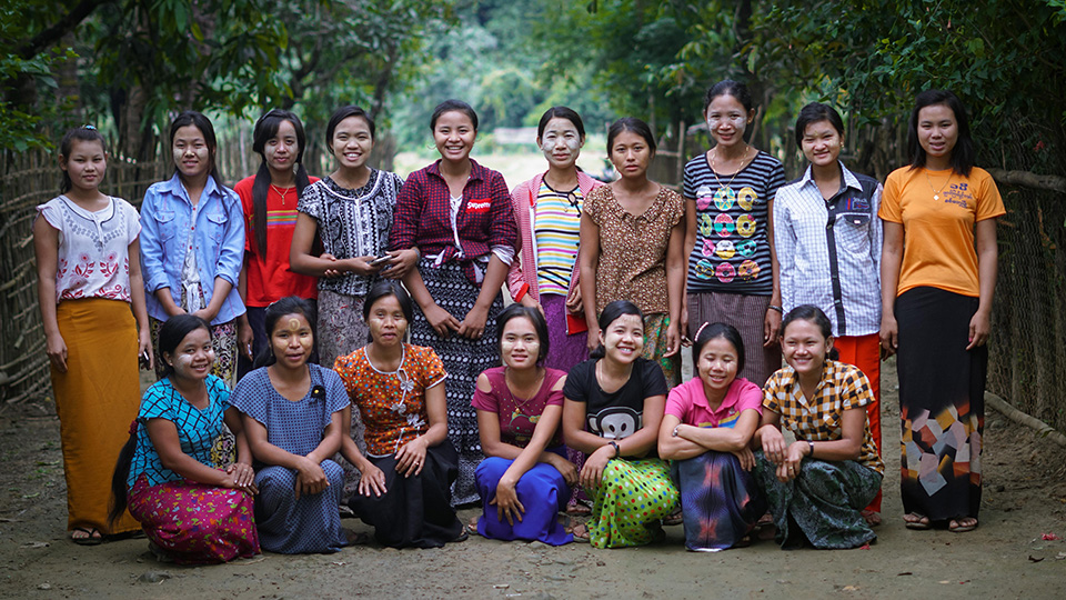 A group of female weavers who have received training under UN Women Myanmar's Inclusive Development and Economic Empowerment of Women in Rakhine State programme. Photo: UN Women Myanmar/Salai Hsan Myat Htoo