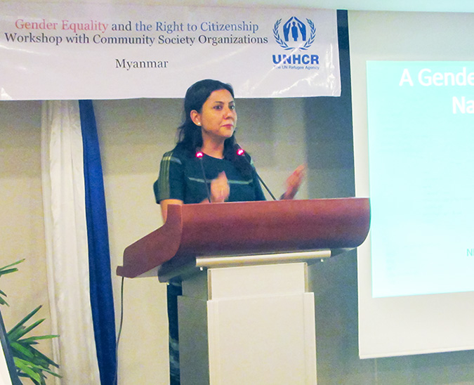 Smriti Aryal, UN Women Myanmar's Head of Office (a.i.), gives welcoming remarks at the event. Photo: UNHCR