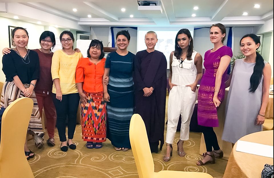 Members of the UN Women Myanmar team with women's rights activist Ketu Mala (centre, right) and singer-songwriter Ah Moon (third from right). Photo: UNHCR