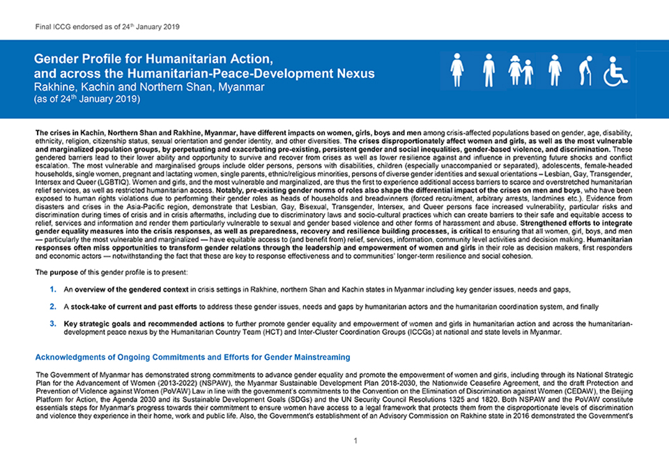 Gender Profile for Humanitarian Action, and across the Humanitarian-Peace-Development Nexus | Rakhine, Kachin and Northern Shan