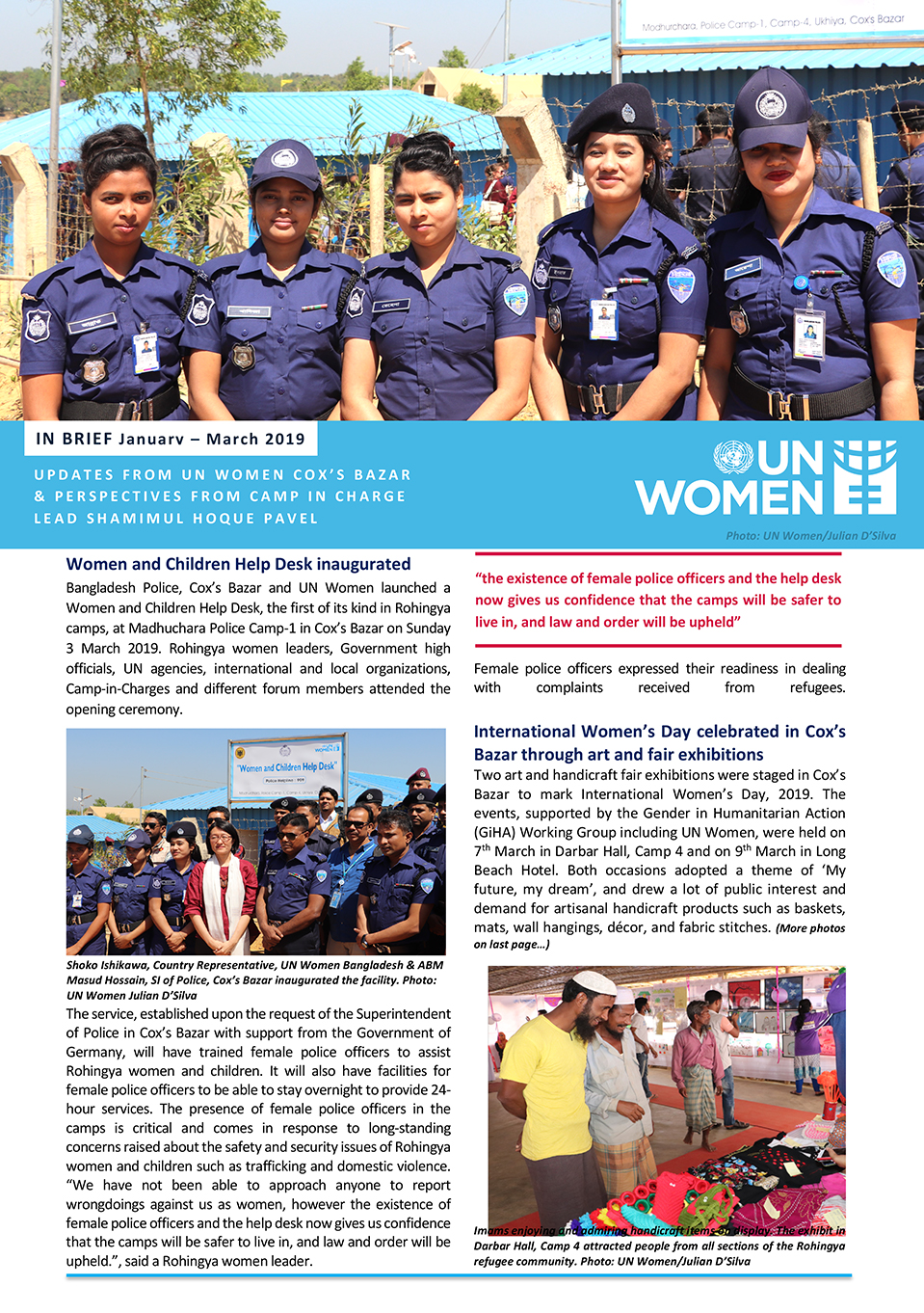 UPDATES FROM UN WOMEN COX'S BAZAR & PERSPECTIVES FROM CAMP IN CHARGE LEAD SHAMIMUL HOQUE PAVEL