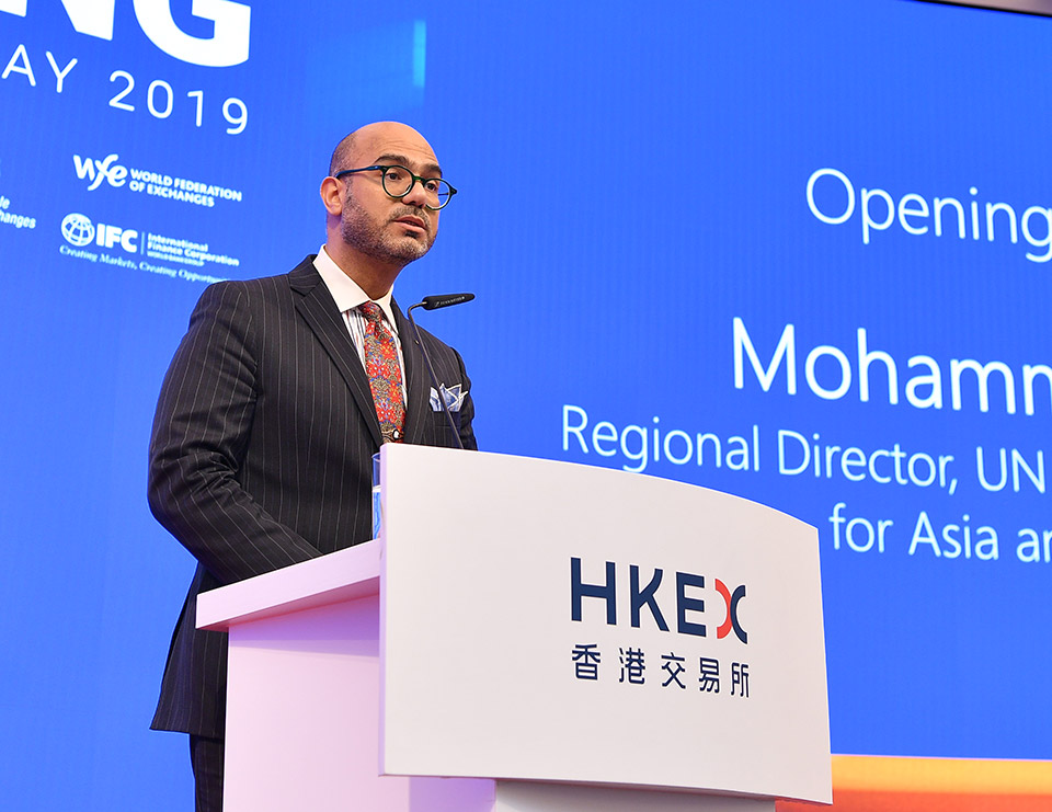 Mohammad Naciri of UN Women delivers the opening remarks at the bell ringing ceremony. Photo: Courtesy of HKEX