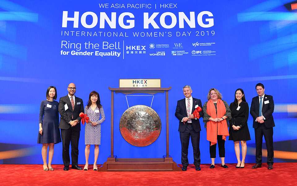 The organizers of the event – representatives of HKEX, Women in ETFs and UN Women – pose after the bell ringing ceremony. Photo: Courtesy of HKEX
