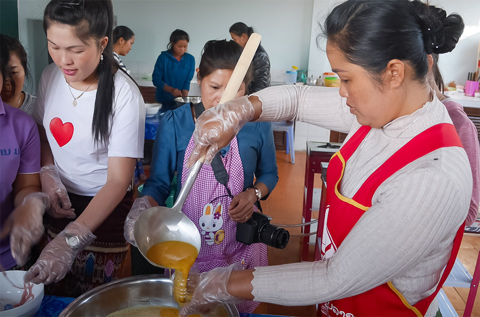 Rural Lao women learn cooking and food preservation skills at the Lao Women's Union Training Centre in Xieng Khouang. Photo: Courtesy of Keshia D'silva
