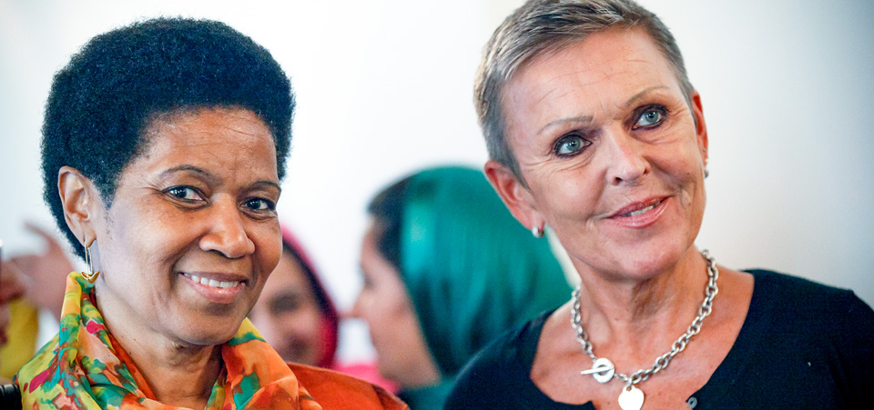 UN Women Executive Director, Phumzile Mlambo-Ngcuka, with Finland's Ambassador to Afghanistan, Anne Meskanen, at the   special meeting of the Women, Peace and Security Working Group to discuss the situation for women, peace and security in Afghanistan and the implementation of the National Action Plan for Resolution 1325. Photo: UNAMA/Fardin Waezi