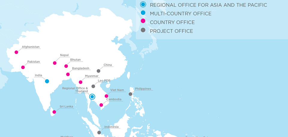 Map | UN Women Offices in Asia & Pacific