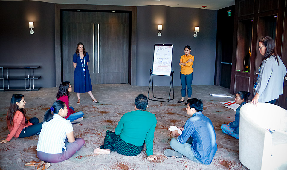 Participants presenting their training module on PSEA and GBV. Photo: UN Women/Cecilia Truffer