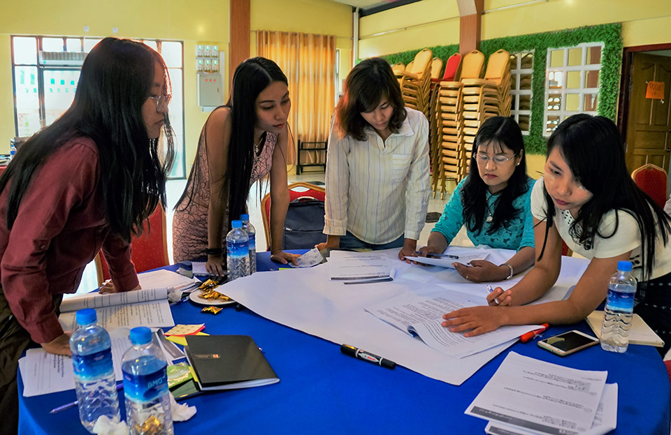 Groups develop draft advocacy campaigns during the training. Photo: UN Women/Salai Hsan Myat Htoo