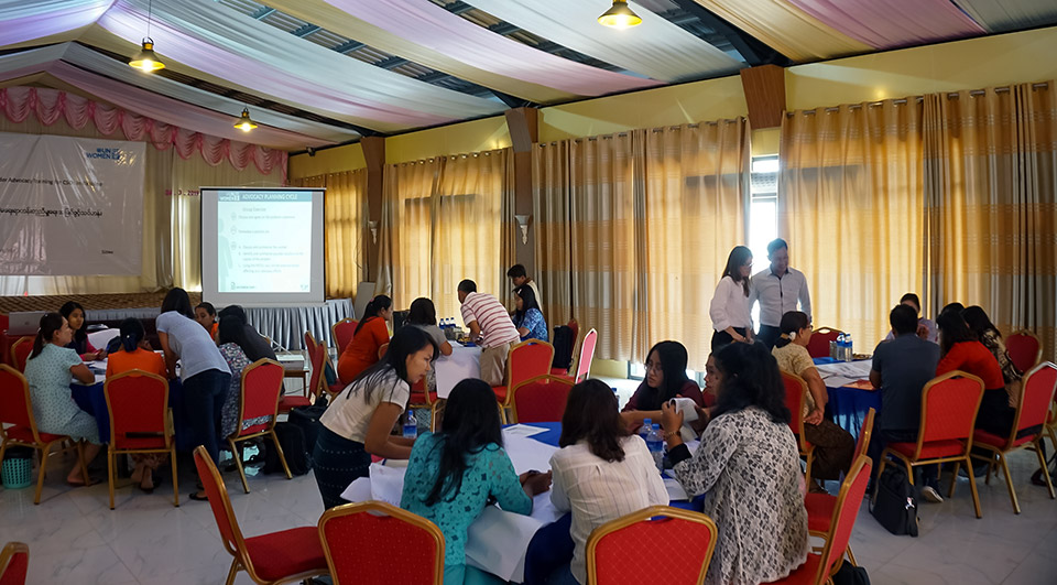 Training participants are engrossed in group work. Photo: UN Women/Salai Hsan Myat Htoo