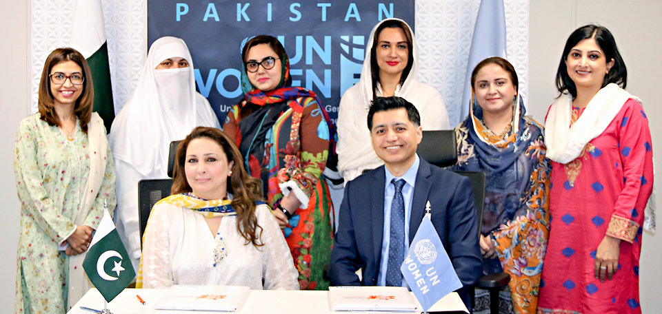 Chairperson Women Parliamentary Caucus KP Maliha Asgher Khan, Country Rep. UN Women Pakistan Jamshed Kazi and other officials after signining of MoU in Isb