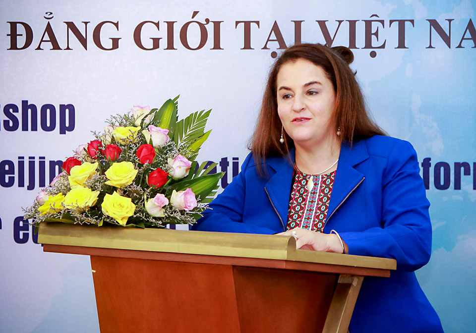 """""""UN Women is committed to continue supporting Viet Nam in advancing gender equality and women's empowerment"""" said Elisa Fernandez, UN Women Head of Office in Viet Nam. Photo: MOLISA"""