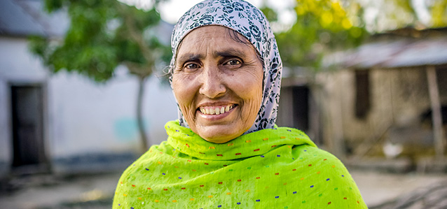 Kohinoor Begum, 47, is a member of Polli Shomaj, a community-based women's group that discusses how to prevent violent extremism. Photo: UN Women/Tasfiq Mahmood
