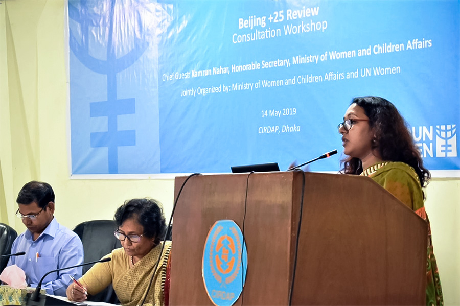 Representing the Ministry of Foreign Affairs, Monica Shahanara, Director of UN discussed the progress and challenges in the implementation of the Beijing Platform for Action. Photo: UN Women