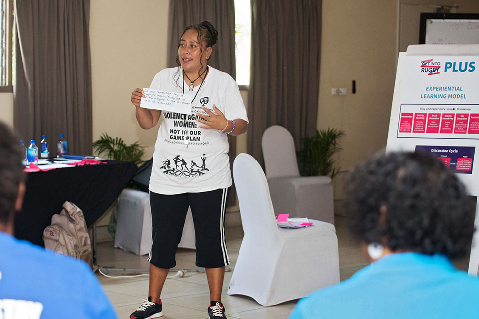 Kitiana Kaitu, known as Kiti, a primary school teacher in Nasinu, Fiji, and coach and newly qualified Lifeskills Trainer for the get Into Rugby PLUS programme. Photo: Oceania Rugby
