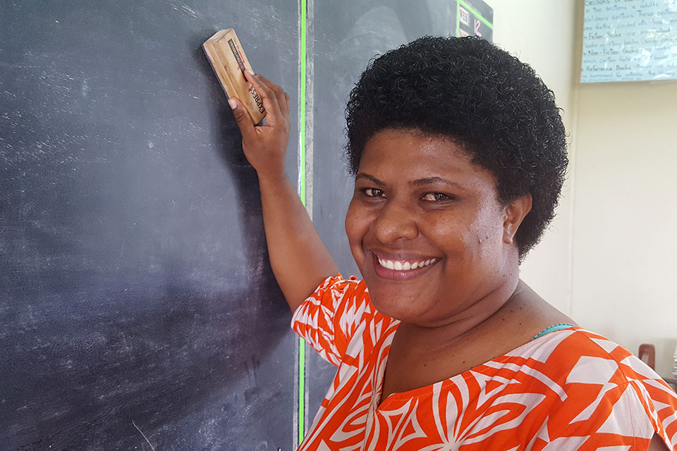Namata District School teacher, Neli Nabogi, is proud to be a coach in the new Get Into Rugby PLUS programme. Photo: UN Women/Jacqui Berrell