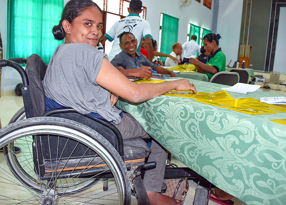 Maria R. H. dos Santos, Director of Disability Center in Enclave Oecusse, Timor-Leste attending the Inclusive Budget for People Ling with Disability's Workshop. Photo: UN Women/Helio Miguel