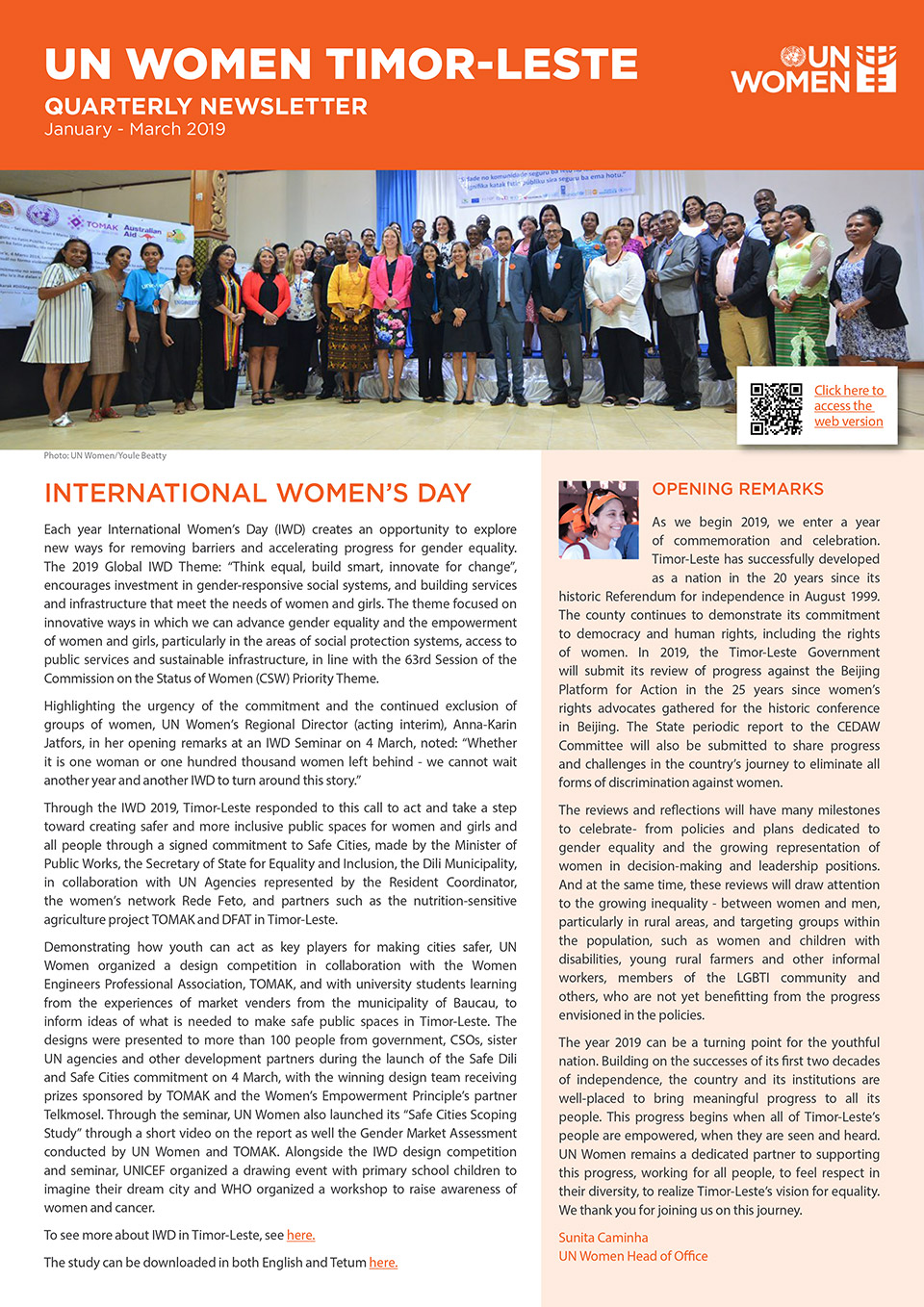 UN Women Timor-Leste Quartery Newsletter | January—March 2019