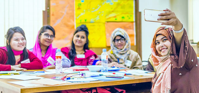 Female students develop business ideas to improve society