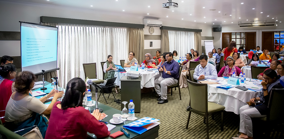 Representatives of development partners and civil society groups attend the workshop on 20 June. Photo: UN Women/Sohag Ahmed