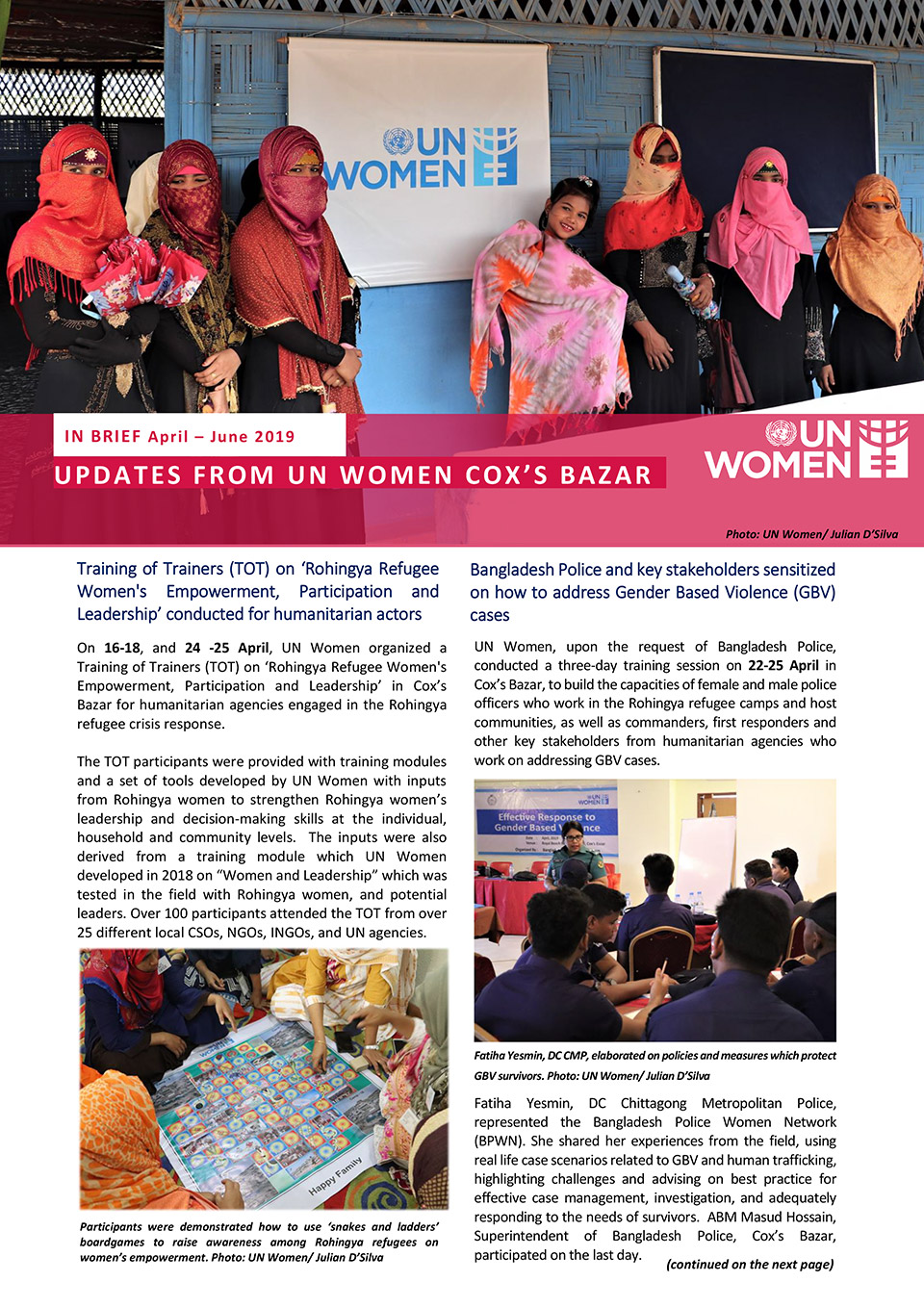 Updates from UN Women Cox 's bazar | April–June 2019