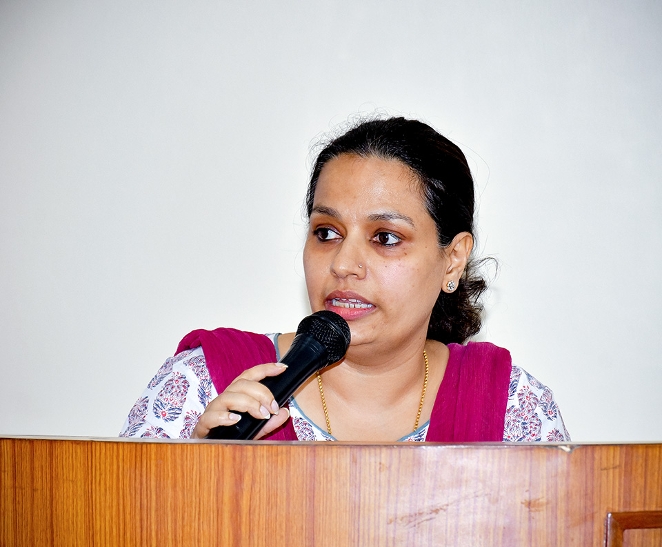 UN Women Nepal Deputy Representative Gitanjali Singh giving her remarks at the panel discussion. Photo: UN Women