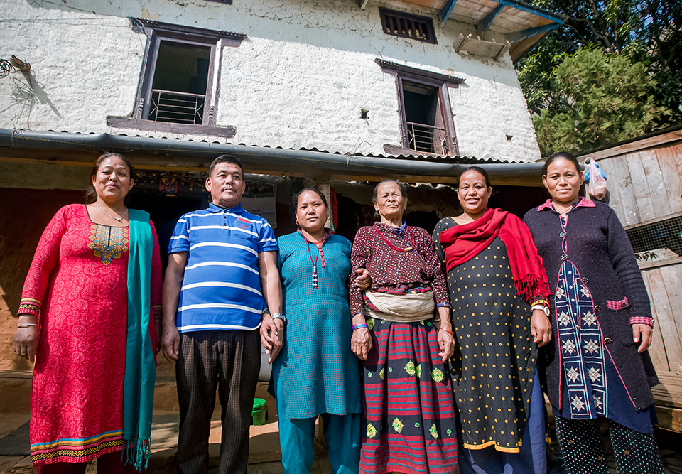Tamang's family supports her efforts to take a leadership role in Roshi village. This portrait was taken in December 2018. Photo: UN Women/Merit Maharjan