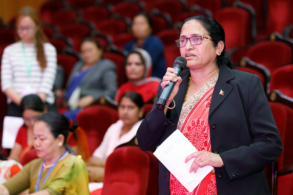 """Out of the 293 mayors of municipalities and 460 chairpersons of rural municipalities, only 18 of us are women,"" said Sima Chhetri, Mayor of Putalibazar Municipality, Syangja District, during the interaction with political leaders. Photo: UN Women/Laxmi Maharjan"