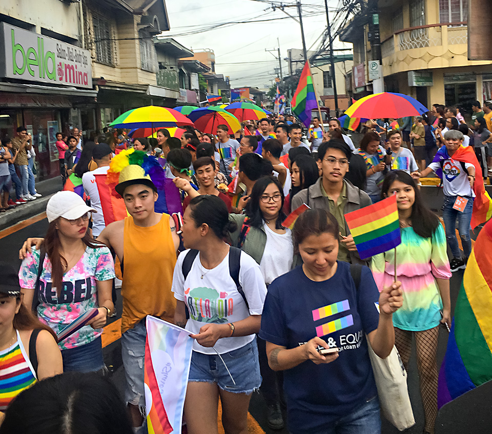 People fill the streets of Marikina during the 29 June Pride march. Photo: UN Women/Rebecca Singleton