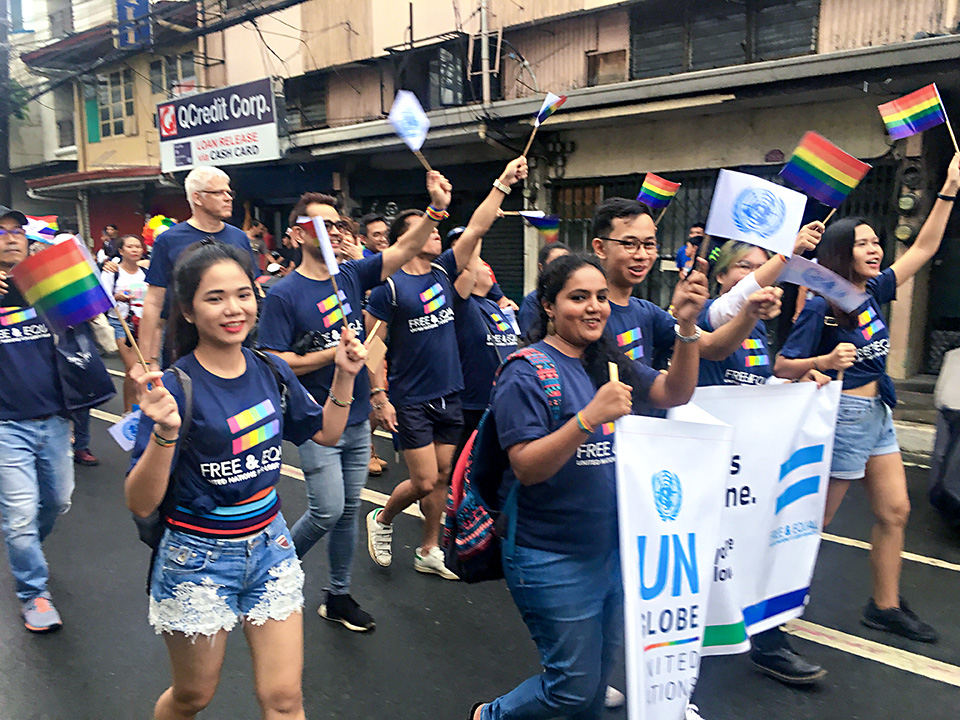 Members of the United Nations contingent show their support at the 29 June Metro Manila Pride march. Photo: UN Women/Rebecca Singleton