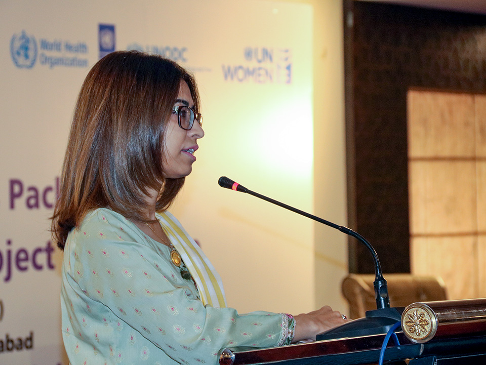 Aisha Mukhtar, Deputy Country Representative speaks at the ESP launch event. Photo UNWomen/Habib Asgher
