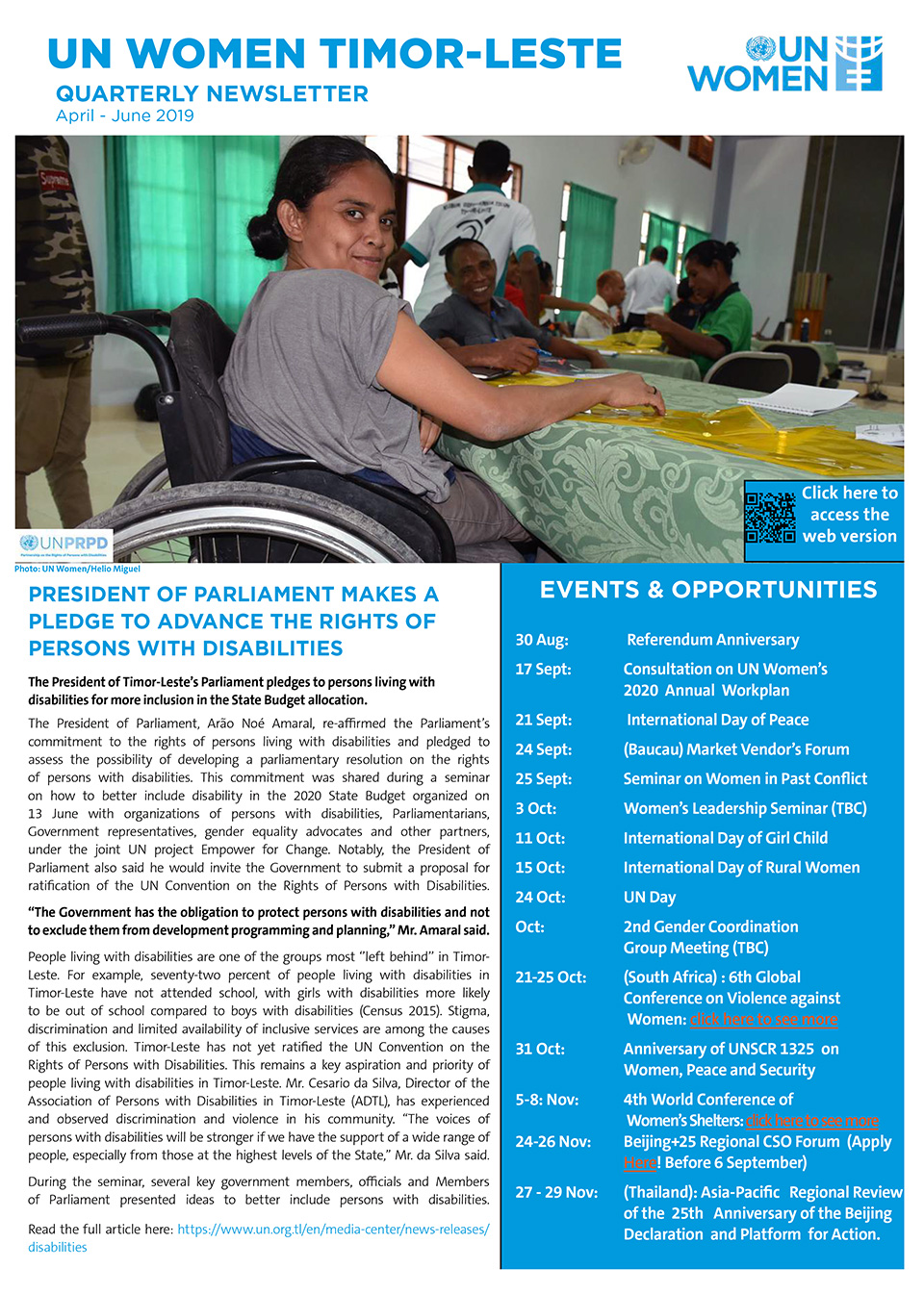 UN Women Timor Leste Quartery Newsletter Q2 2019
