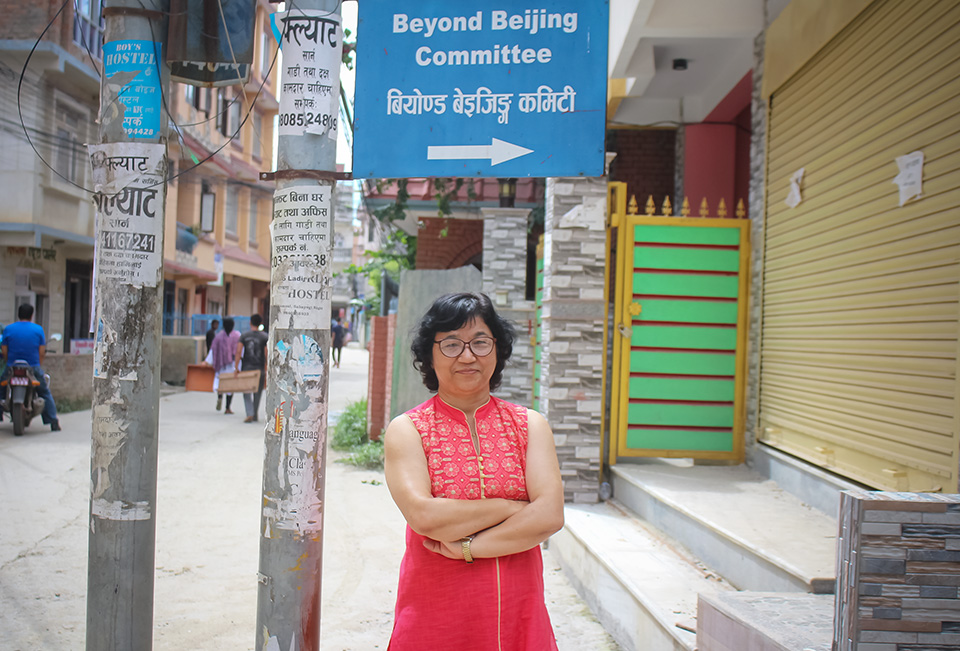 Shanta Lakshmi Shrestha, Chairperson of the Beyond Beijing Committee in Nepal. Photo: UN Women/Anam Abbas