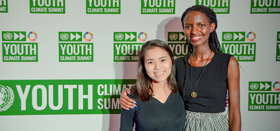 Mayumi Sato with a youth activist at the Climate Action Summit in New York. Photo: Courtesy of Mayumi Sato