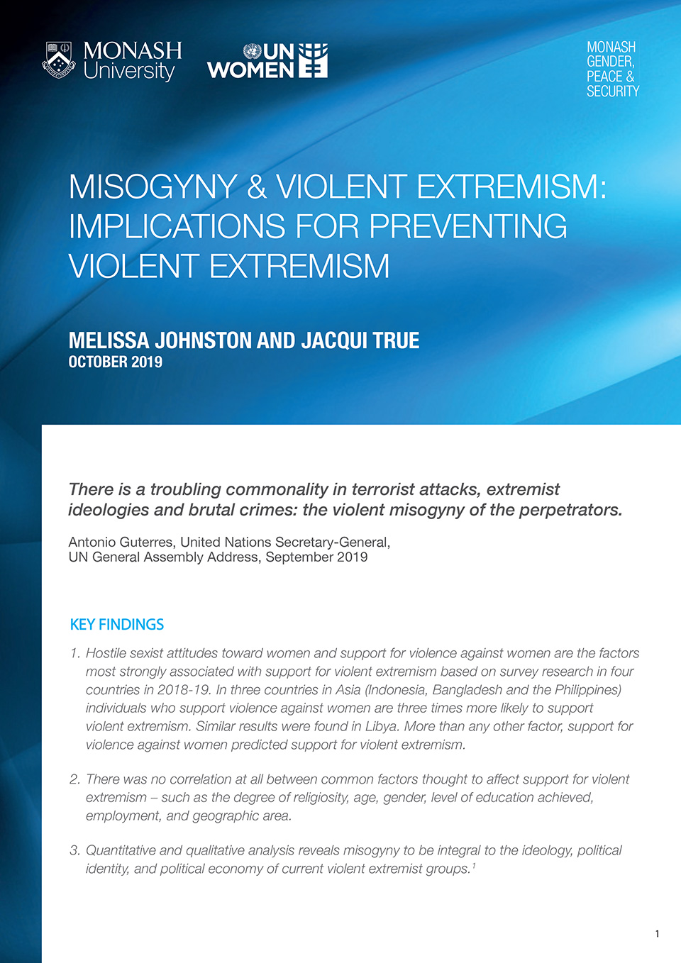 Misogyny & Violent Extremism: Implications for Preventing Violent Extremism