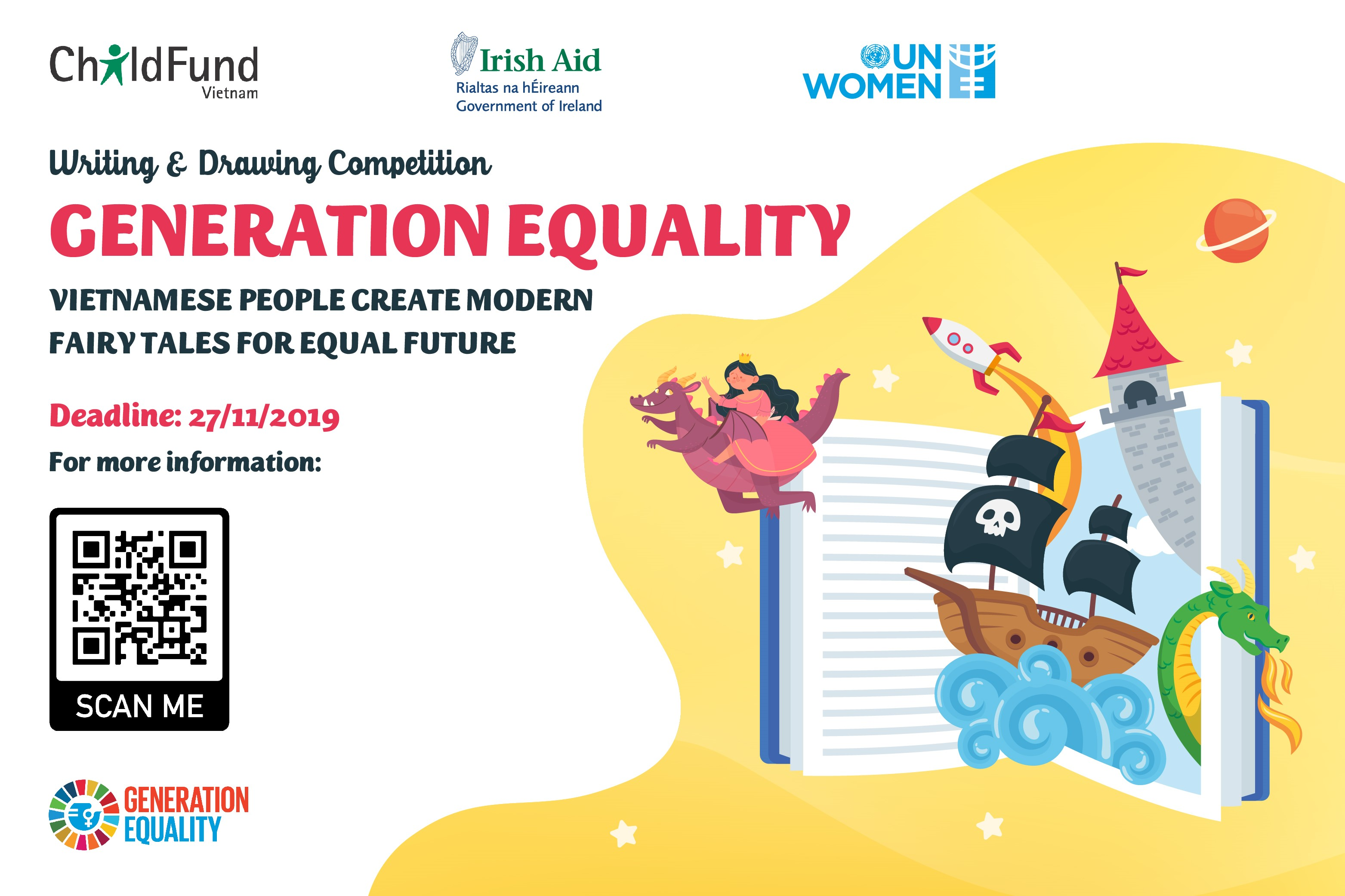 UN Women, Embassy of Ireland and ChildFund Viet Nam are inviting all legal residents in Viet Nam, especially children and the youth, with no age limation, to participate in a new contest to eliminate gender stigma and stereotypes in fairy tales.