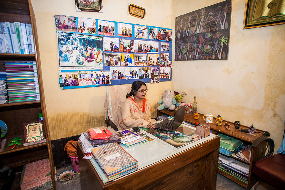 Parveen Akter, hails from Ghop Nawapara Road in Jessore. She is the owner of Glamour Boutique House and Training Center, which has been operating since 2007. Photo: UN Women/Fahad Kaizer