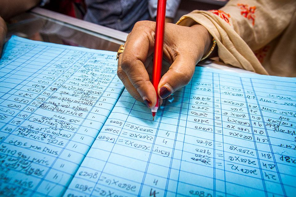 Glamour Boutique House and Training Center spreadsheets. Photo: UN Women/Fahad Kaizer