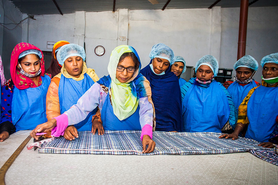 Mosammat Nafisa is a trainer at Glamour Boutique House and Training Center, located at Ghop Nawapara Road in Jessore. She trains budding female workers in this field. Photo: UN Women/Fahad Kaizer