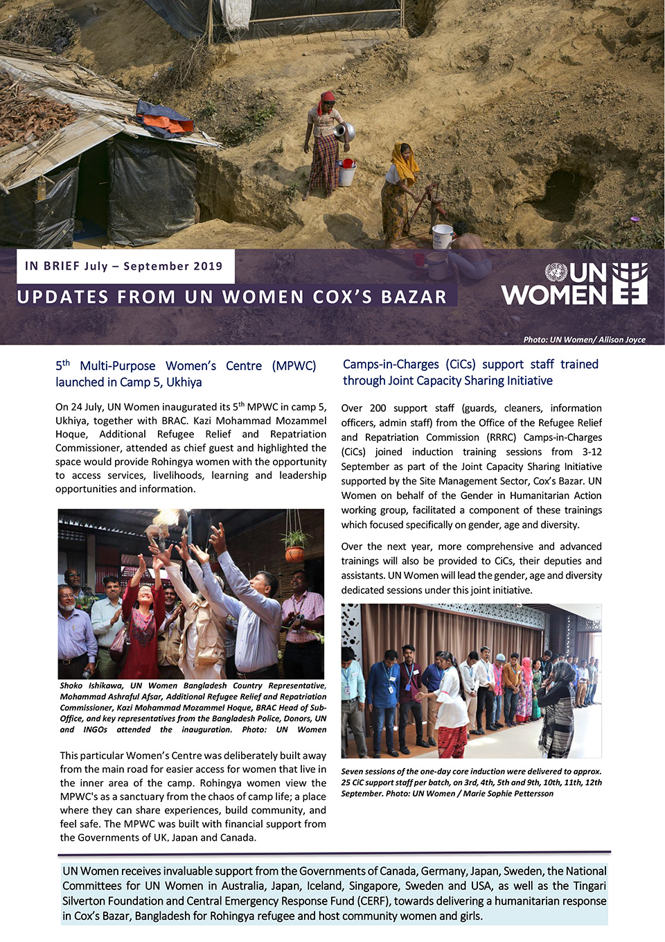 Updates from UN Women Cox's Bazar | July – September 2019