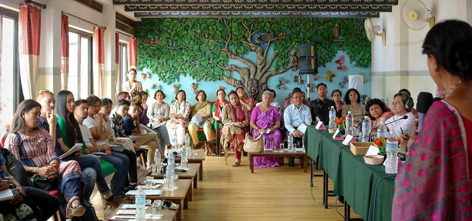 Participants of the 13 August dialogue in Kathmandu discuss efforts at greater inclusion. Photo: Courtesy of Mitini Nepal