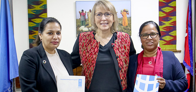 Ayshanie Medagangoda-Labé, Resident Representative of UNDP and Gitanjali Singh, Officer in Charge (OiC), UN Women Nepal signed an inter-agency agreement to collaborate on advancing gender equality and women's empowerment in Nepal, in presence of Valerie Julliand, UN Resident Coordinator in Nepal. Photo: UNRCO/Simrika Sharma
