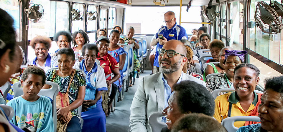 UN Women Regional Director rides in their seats on Meri Seif Buses