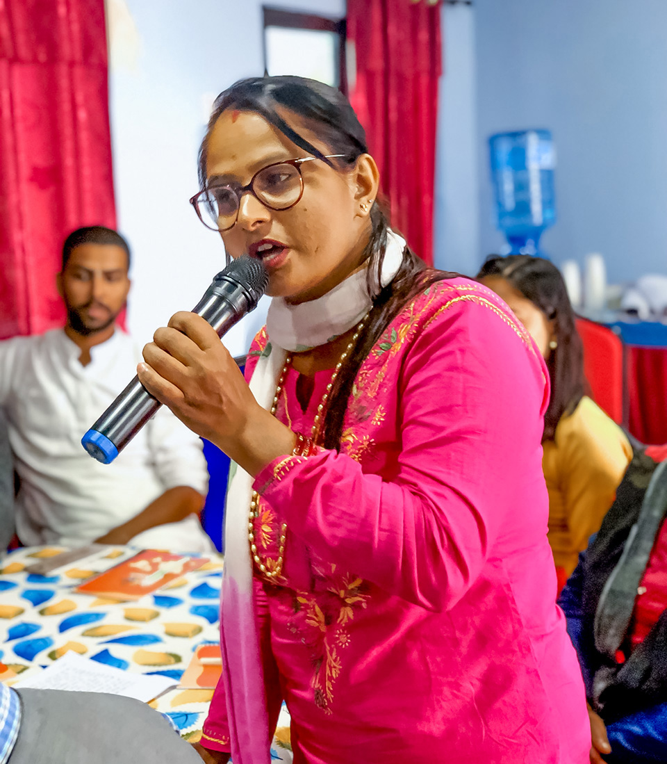 Srijana Adhikari, locally elected leader from Bharatpur Municipality of Chitwan district, says she wants to encourage local government to organize similar initiatives to promote Intergenerational Dialogues. Photo: UN Women/Naresh Newar