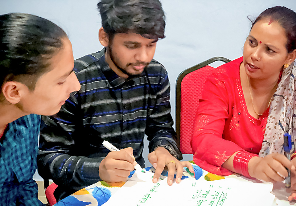 The Intergenerational Dialogues encouraged participation of young men to create understanding on discriminatory social norms and harmful practices in Nepal. Photo: UN Women