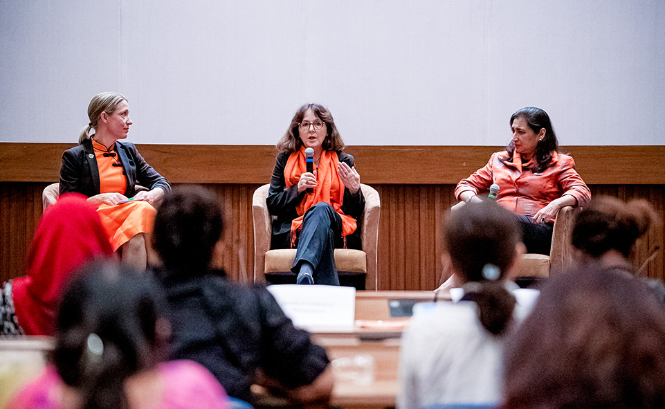 Fireside chat featuring Dubravka Simonovic and Anita Bhatia and moderated by Anna-Karin Jatfors. Photo: UN Women/Pathumporn Thongking
