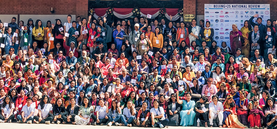 More than 350 people participated in the Beijing+25 review national consultation in Kathmandu on 22 October, organised by UN Women's partner Beyond Beijing Committee (BBC) Nepal. Photo: UN Women/Naresh Newar