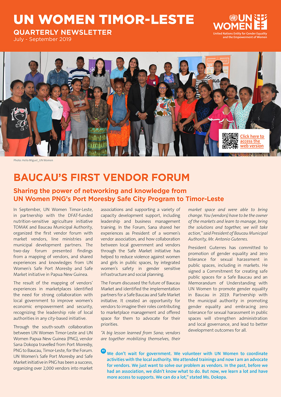 UN Women Timor Leste Quartery Newsletter | July—September2019