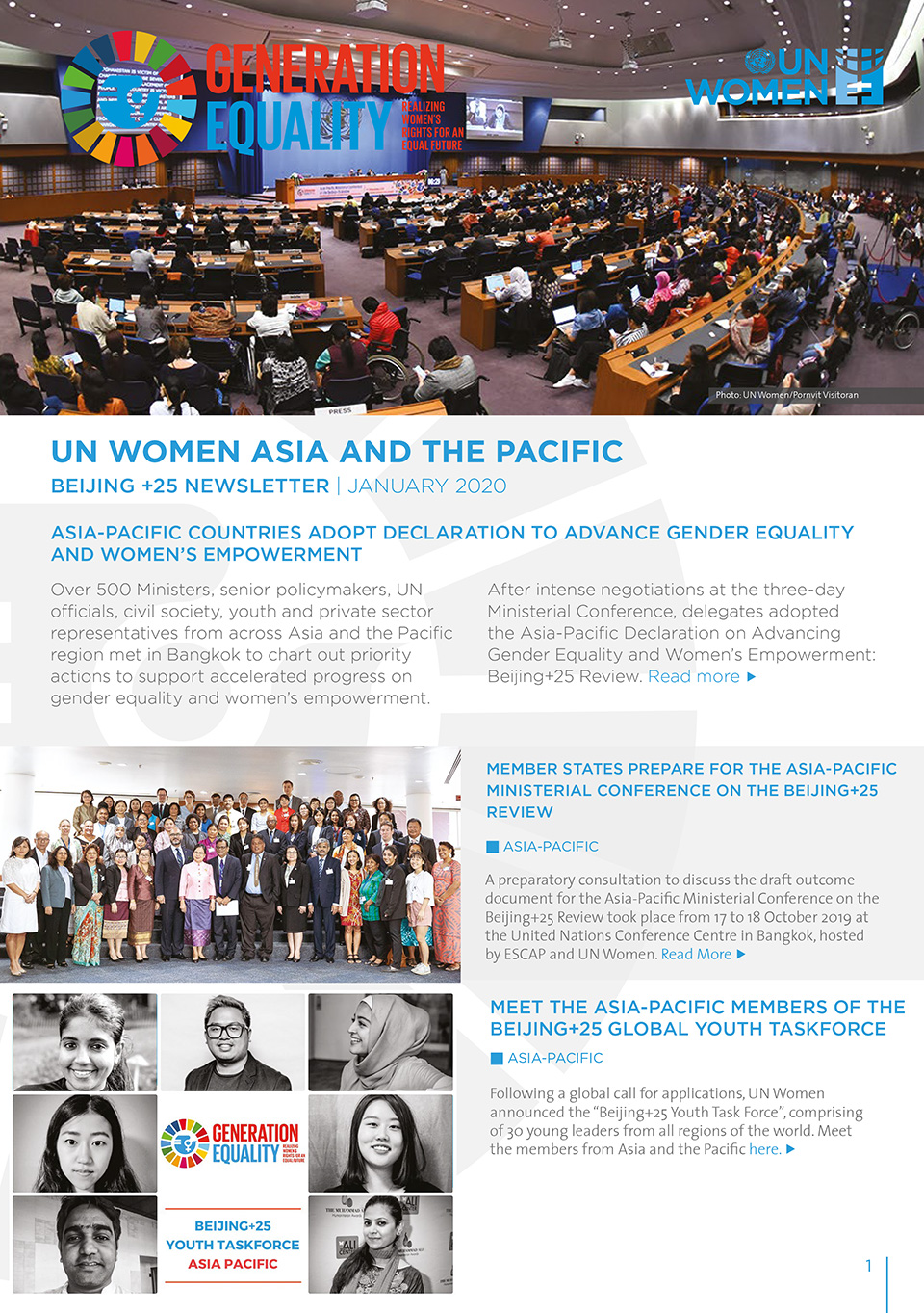 UN Women asia and the Pacific Beijing +25 Newsletter | JANUARY 2020